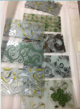 acid etched glass with flower designs, ice flower designs